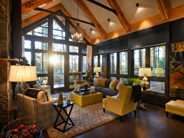 salon rustique bois canapé fauteuil design tapis sol