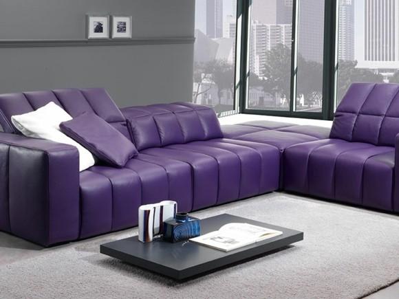 salon deco canape cuir violet