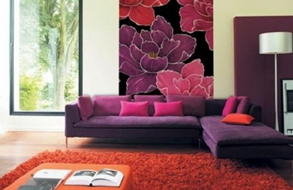 salon deco violet orange