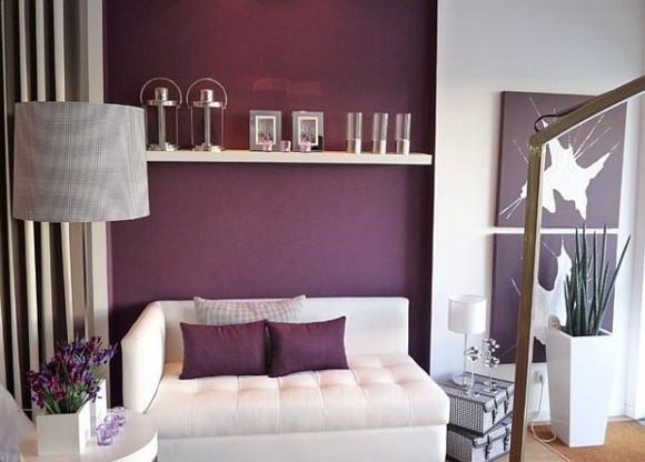 salon design moderne violet blanc