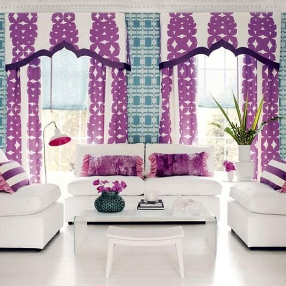 salon moderne blanc violet