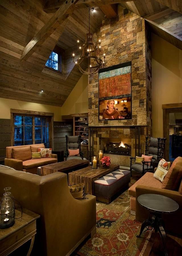 salon plafond bois vue chemine pierrs