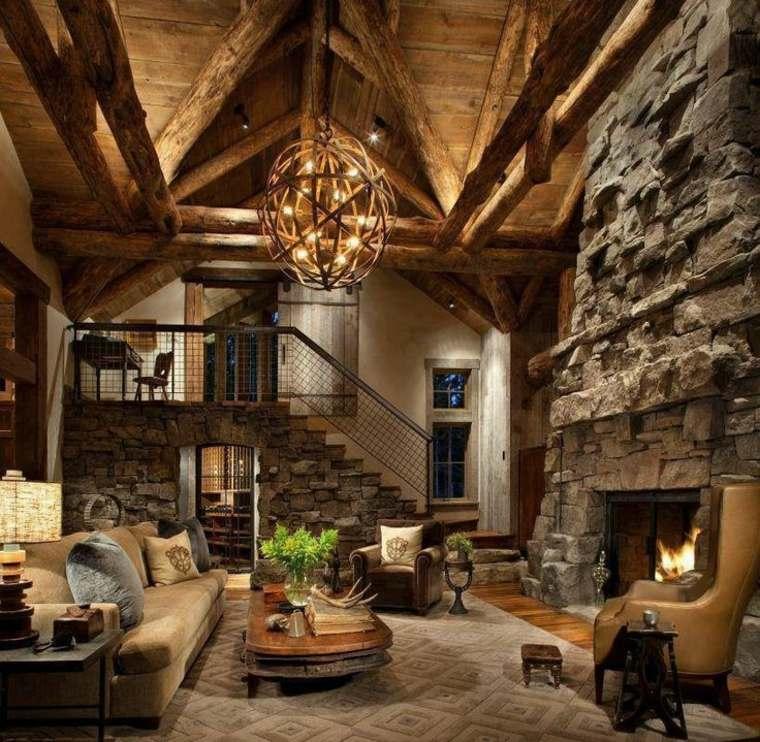 salon rustique intérieur design luminaire suspension tapis sol