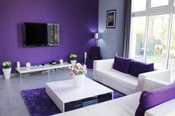 salon ultra moderne violet blanc