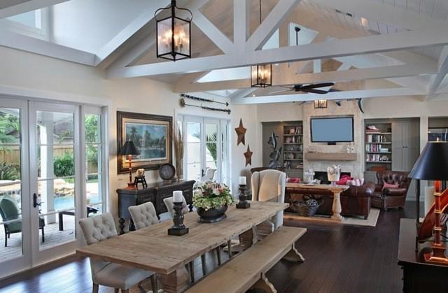 table banc bois murs blanc salon styl rustique