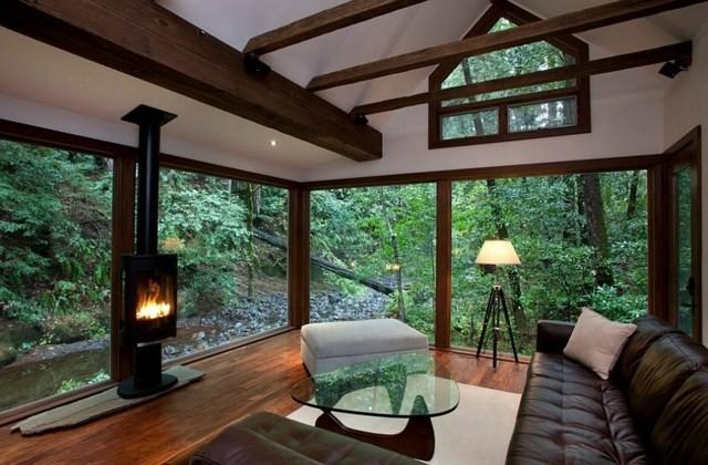 vue petite cheminee salon moderne meubles design