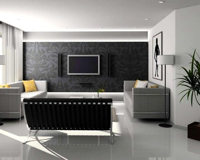 Salon élégant en noir et blanc