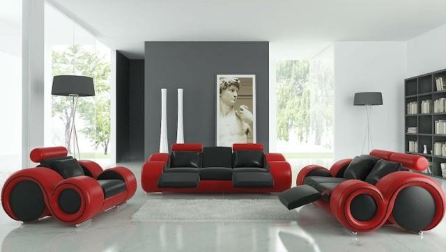 Salon élégant en rouge et noir