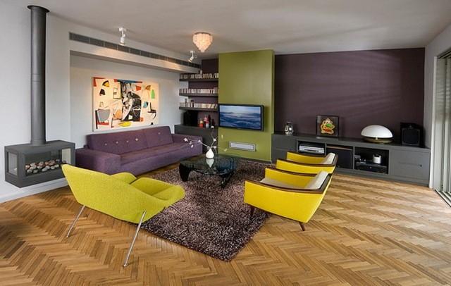 Salon fonctionnel avec des meubles modernes