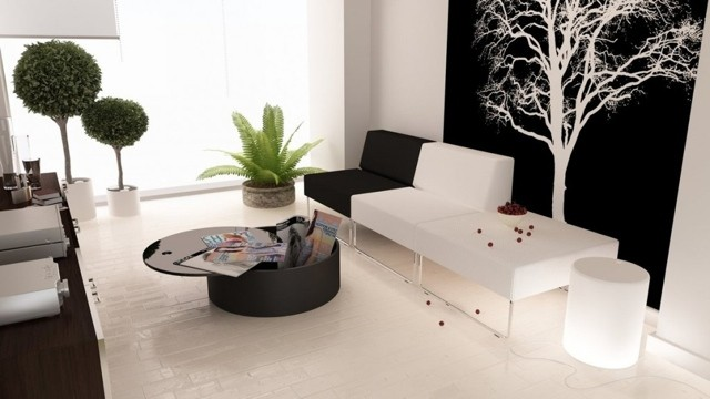 Table basse ronde dans le salon