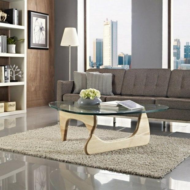belle table basse bois et verre par Isamu Noguchi