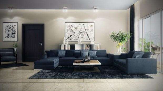 Le canapé moderne design s\'inscrit dans un salon élégant ...
