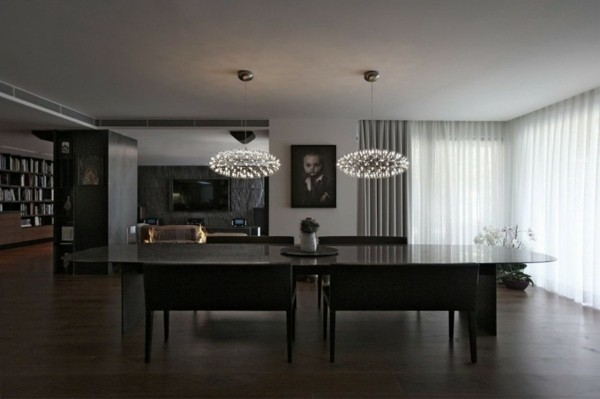 design salon moderne luminaire volumes