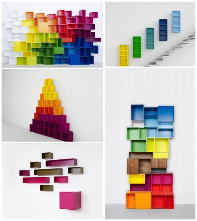 salon déco original cubit étagères colorées