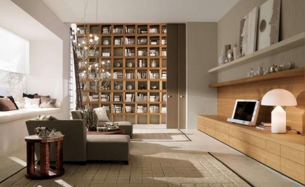 superbe salon avec meuble bibliothèque imposant