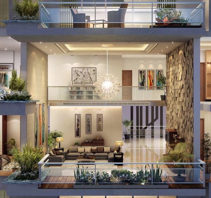 idée déco lampe suspendue salon contemporain design tableaux appart sur deux étages