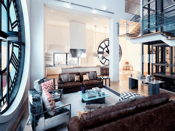 salon moderne idée déco aménagement design horloge table basse canapé coussins aux motifs vintage
