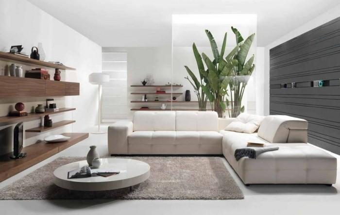 salon canapé d'angle cuir blanc tapis de sol table basse de salon déco végétale étagères bois salon