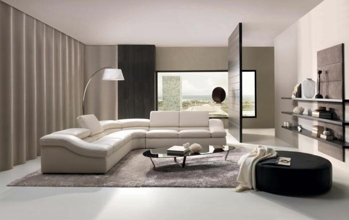 canapé d'angle blanc cuir lampe design pouf noir table de salon basse noire étagères noires