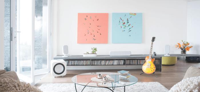 salon moderne idée déco salon contemporain tableaux guitare table en verre tapis blanc plante fleurs