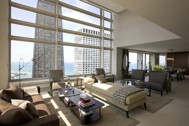 décoration salon moderne baies vitrées vue sublime