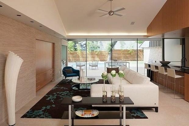 décoration salon moderne nuances beiges accents noirs