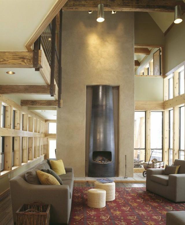 déco salon nature cheminée enduite chaux boiseries