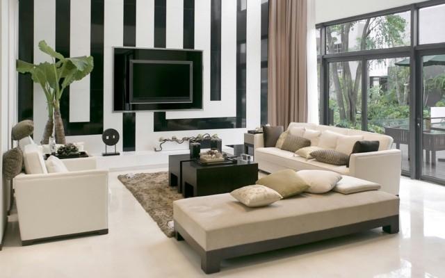 decoration blanche noire interieur salon