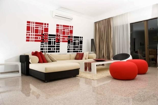 décoration peinture salon moderne canapé rouge