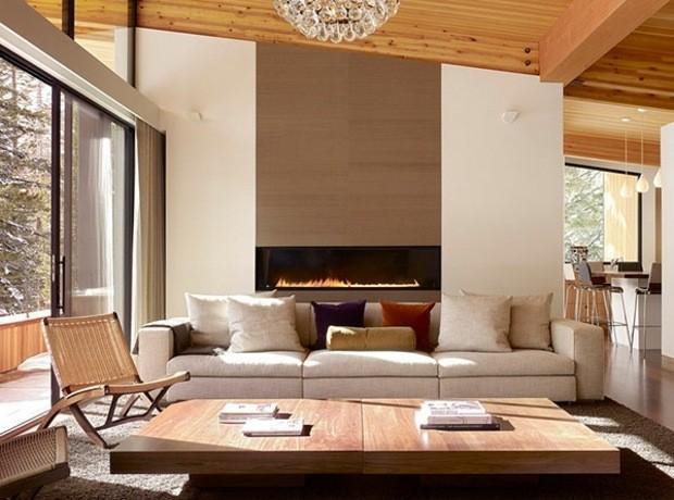 decoration salon moderne avec cheminée ethanol