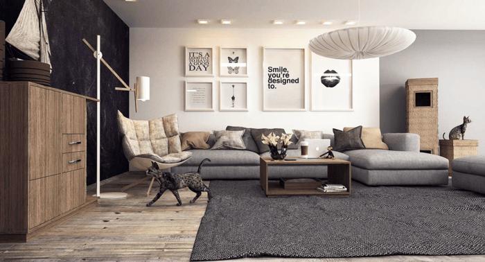 salon moderne idée aménagement moderne idée déco lampe canapé gris chaise chat