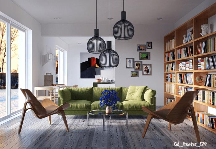 design intérieur déco salon moderne lampe chaise chaise en bois design lampe suspendue design canapé vert bibliothèque