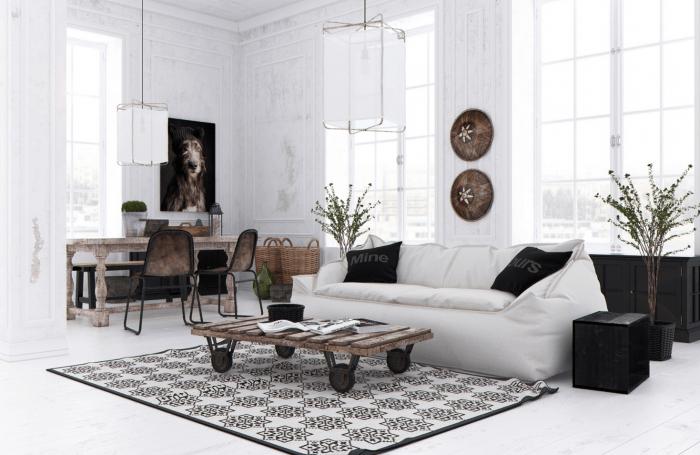 salon design idée de déco salon design canapé blanc table en palettes bois chaise design portrai chien lampe suspendue design