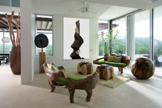 idée déco salon sculpture souches