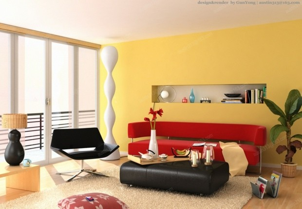idee moderne salon peinture jaune