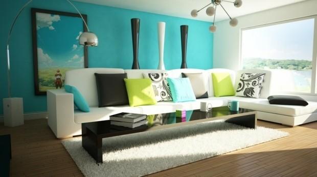 idee salon peinture blanc bleu