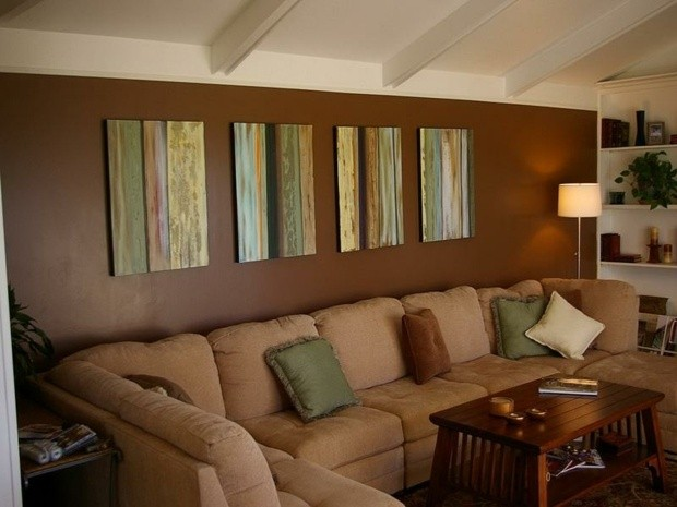 idee salon peinture marron plafond blanc