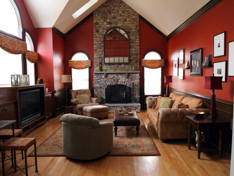 idée salon peinture murs rouge