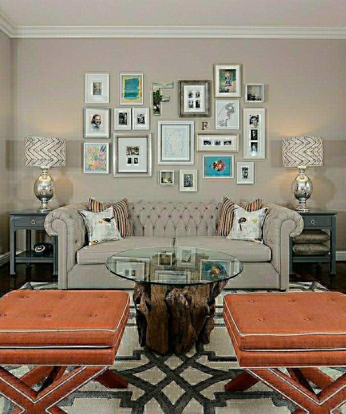 objets design salon moderne table à café bois écolo canapé gris photos