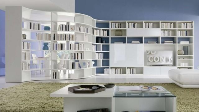 décoration salon design bibliothèque