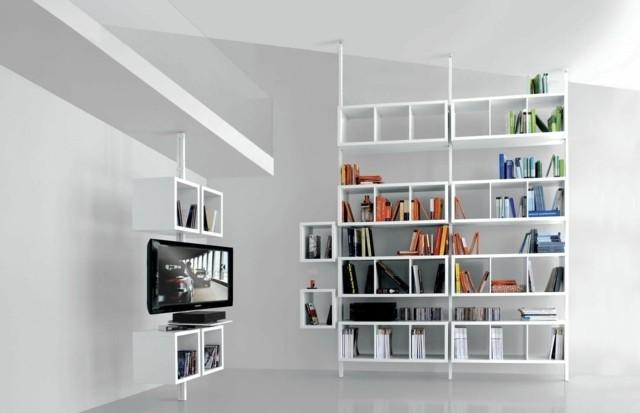 meuble salon design blanc bibliothèque