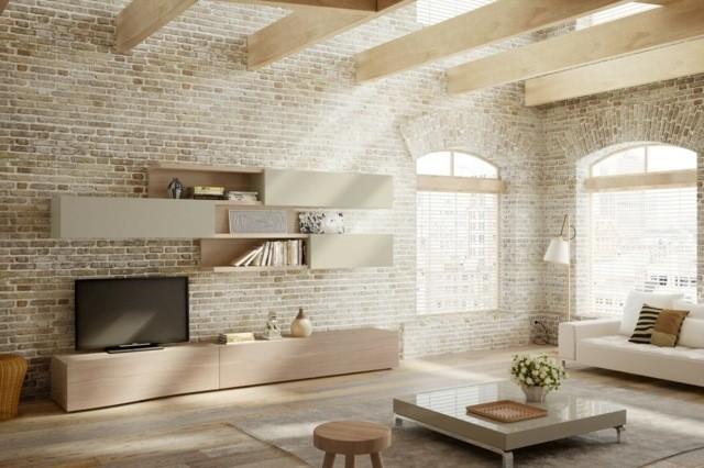 meuble salon design bois brique