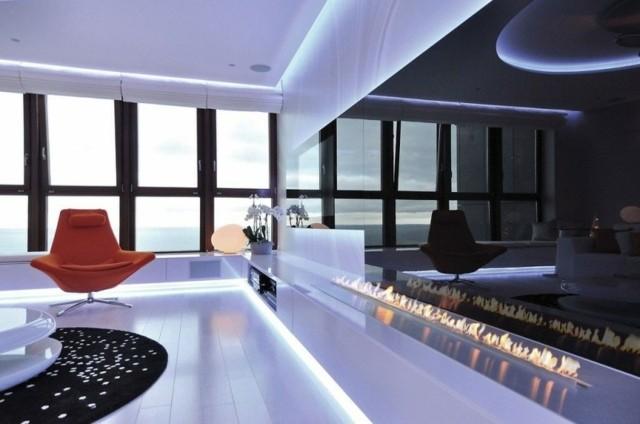 meuble salon design hitech feu décoratif