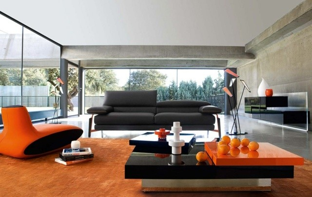 meuble salon design oranges
