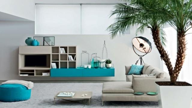 décoration salon design turquoise