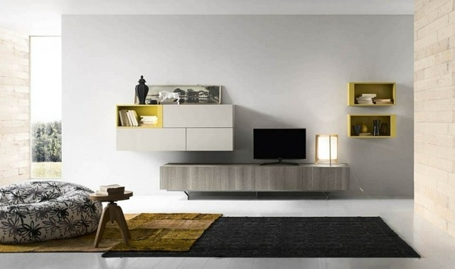meubles salon eco modernes blanc jaune