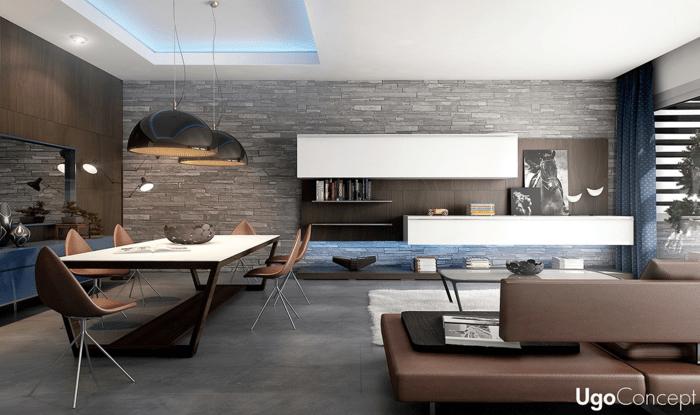 séjour design table à manger blanche murs en pierre canapé en cuir marron lampe suspendue noire idée déco salon