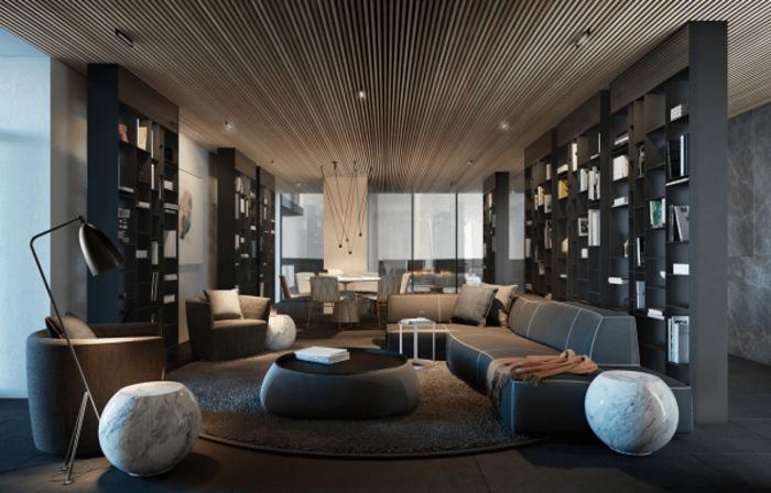 idée déco salon plafond en bois déco canapé gris pouf blanche lampe design bibliothèque