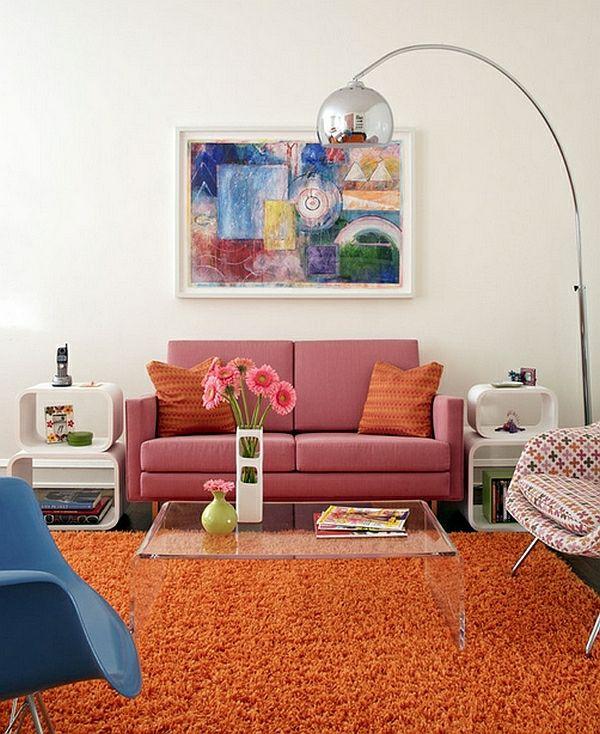salle sejour retro couleurs