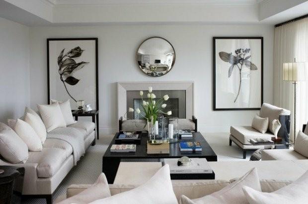 salon blanc noir minimaliste